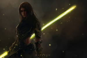 Lightsaber With Girl 4k