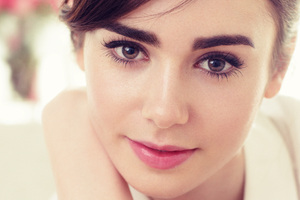 Lily Collins Closeup Face