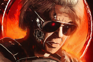 Linda Hamilton In Terminator Dark Fate Artwork