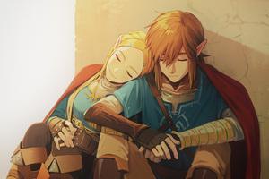 Link And Zelda In The Legend Of Zelda Breath Of The Wild Game Artwork Wallpaper