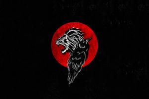 Lion And Crow Minimal 4k