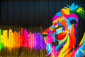 Lion Graffiti 5k Wallpaper