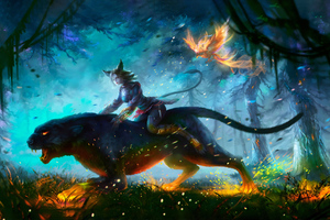 Lion Warrior Girl In Magical Forest For Hunt 4k