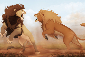 Lions Fight Artwork 4k Wallpaper