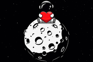 Little Astronaut On Moon With Heart In Hand 5k Wallpaper