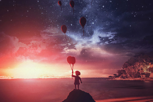 Little Boy Air Balloons 4k