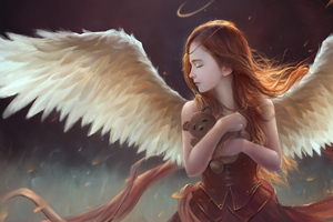 Little Girl Wings Angel With Teddy 4k Wallpaper