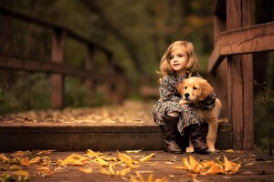 Little Girl With Golden Retriever Puppy