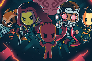 Little Guardians Of The Galaxy Art Wallpaper