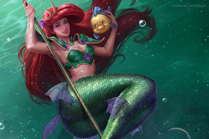 Little Mermaid Fish 4k Wallpaper