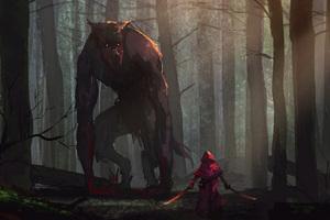 Little Red Riding Hood Vs Werewolves Fairy Tale Artwork Wallpaper
