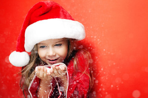 Little Santa Girl Christmas Wallpaper
