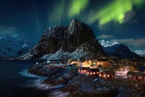 Lofoten Norway Village Aurora Northern Lights 4k Wallpaper