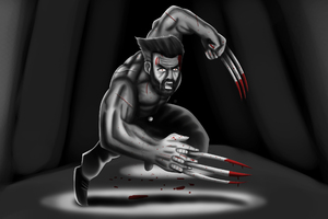 Logan Wolverine Black Art 4k
