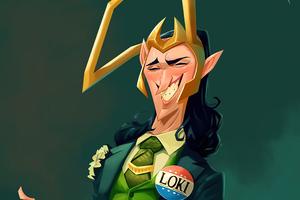 Loki God Of Mischief Cartoon Art 5k Wallpaper