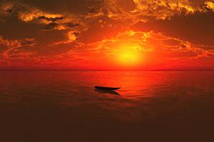 Lone Boat Sunset 4k Wallpaper
