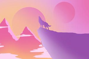 Lone Wolf Howling Minimal 4k Wallpaper