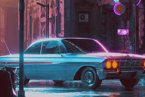 Lonely Night 80s Retro Car 5k