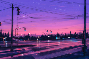 Lonely Street Lights Road