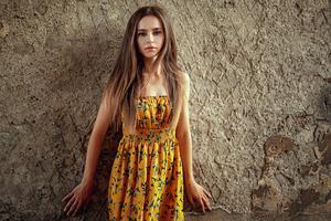 Long Hair Blonde Girl Yellow Dress 4k Wallpaper