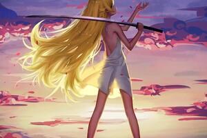 Long Hair Blonde Looking Back