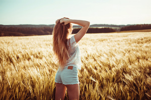 Long Hair Girl In Field