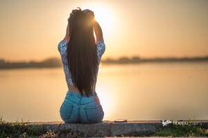 Long Hair Girl Sitting Alone
