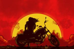 Long Hair Man On Bike Rising Sun
