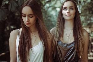 Long Hairs Girls Two Women Outdoors