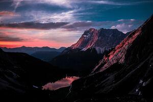 Long Mountain Ranges Landscape Orange Dark Sky 5k