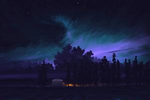 Long Night Drive Camping Van 4k Wallpaper