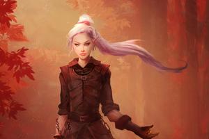 Long Ponytail Warrior Girl Wallpaper
