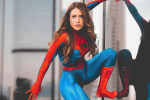 Looking Over City Spidergirl Cosplay No Mask Wallpaper