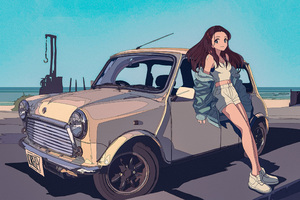 Loreley Anime Leaning On Car