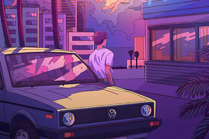 Los Angles Volkswagen Retrowave 4k Wallpaper
