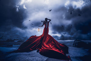 Lost In Night Girl Red Dress With Lantern