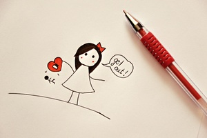 Love Heart Drawing Wallpaper