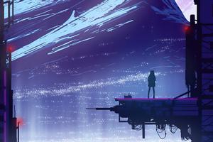 Love The Heights Cyberpunk Mountains View 4k Wallpaper