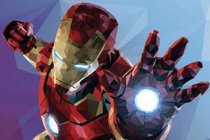 Low Poly Iron Man Graphic Design 4k Wallpaper