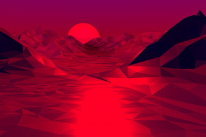 Low Poly Red 3d Abstract 4k Wallpaper