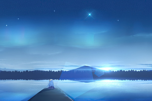 Lsat Night Scenery Anime Girl 4k Wallpaper