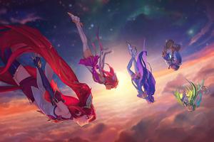 Lux Janna Poppy Jinx Lulu League Of Legends Star Guardian 4k Wallpaper