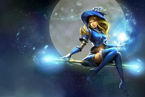 Lux Moon Staff Witch Hat League Of Legends Wallpaper