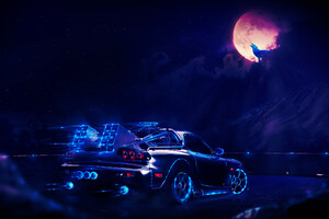 Madza Rx7 Neon Wolf Night Artwork