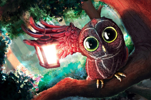 Magical Eyes Owl Digital Art Wallpaper