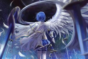 Mahou Shoujo Madoka Magica Blue Hair Anime 4k