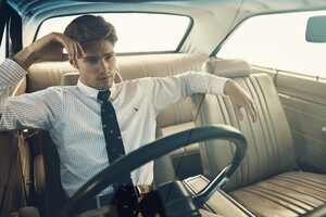 Male Model Sitting In The Car Ralph Lauren Photoshoot Wallpaper