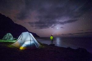 Man Camp Forest Night Stars Galaxy