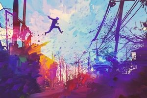 Man Jumping Roof Abstract Illustration Painting 5k