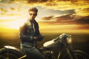 Man On A Motorbike At Sunset